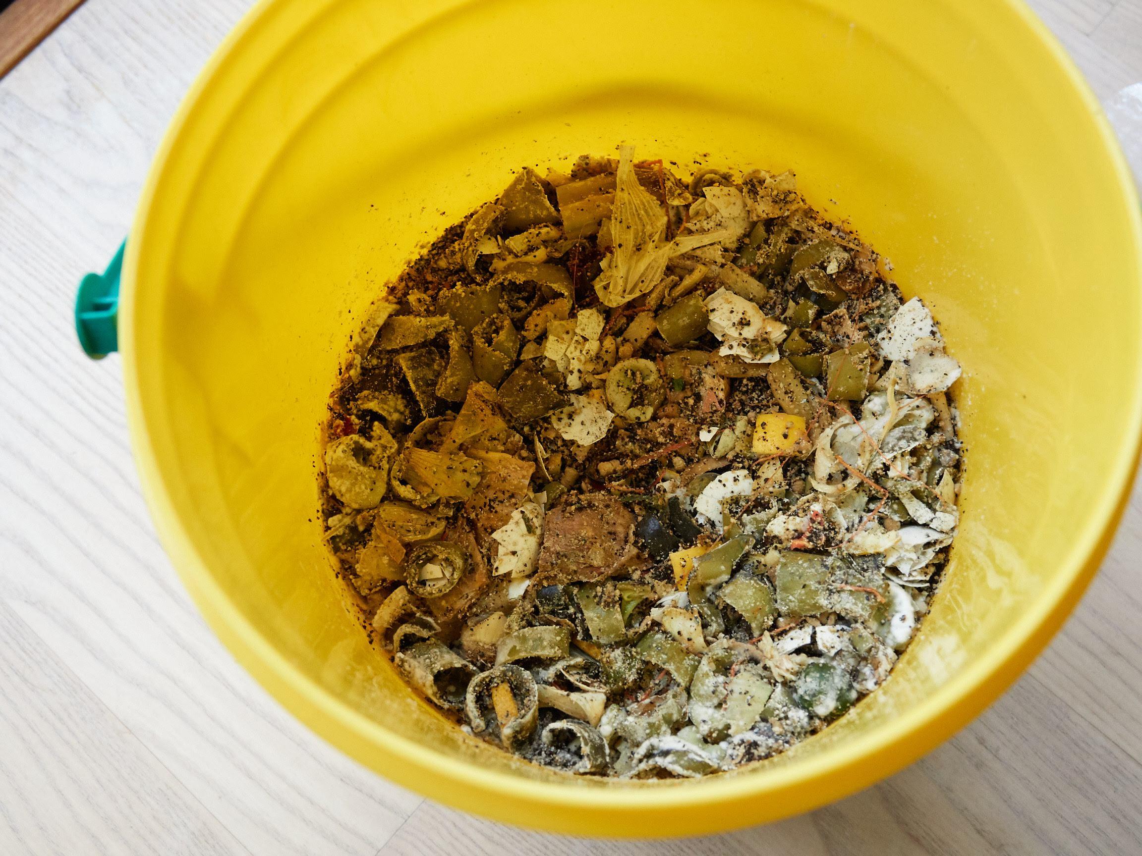 プラスティックコンポストの嫌気性菌で発酵している生ゴミ